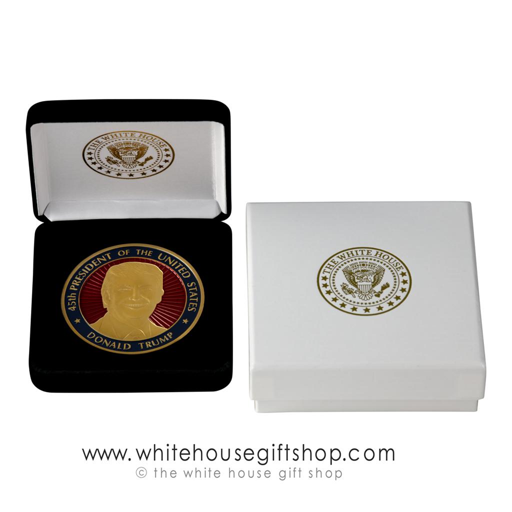 45th President Donald Trump Presidential Seal Coin, Gold Finish, Red Baked  Enamels, Seal of President on Reverse, Custom Velvet Display Case and Gift