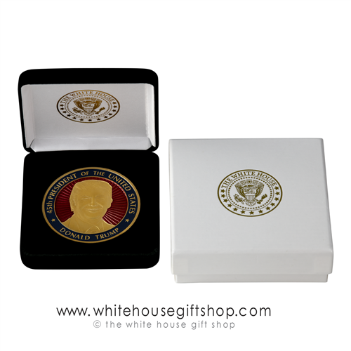 "45th President Donald J. Trump Presentation Coin, Gold Finish, Red Baked Enamel, Presidential Seal on Reverse, Velvet Display Case, Outer Box, 1.5"" Diameter, From Official White House Gift Shop® Gifts Store Est 1946 by President Order & Secret Service"