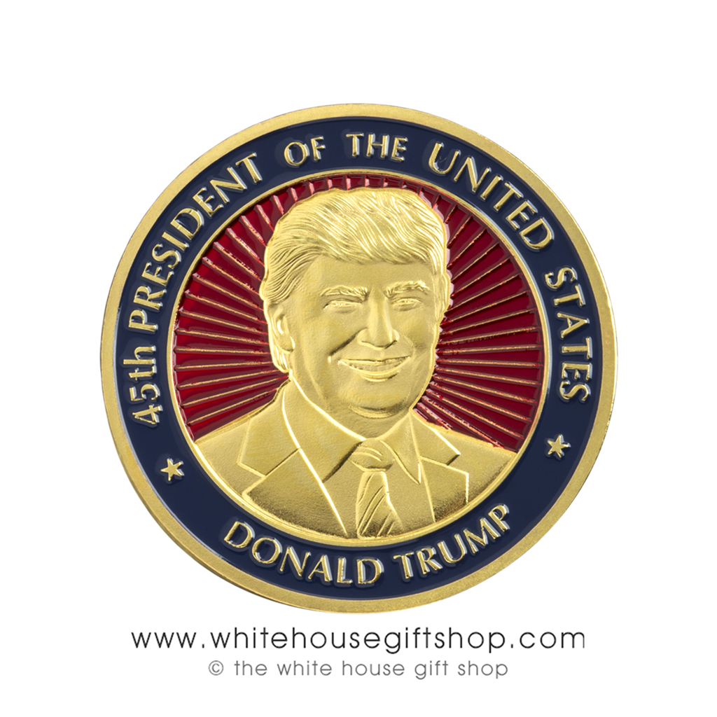 Trump Coins, President Donald Trump Presidential Coin, 45th President Coin,  Presidential Seal on Reverse Gold Finish with Red and Blue Baked Enamels,