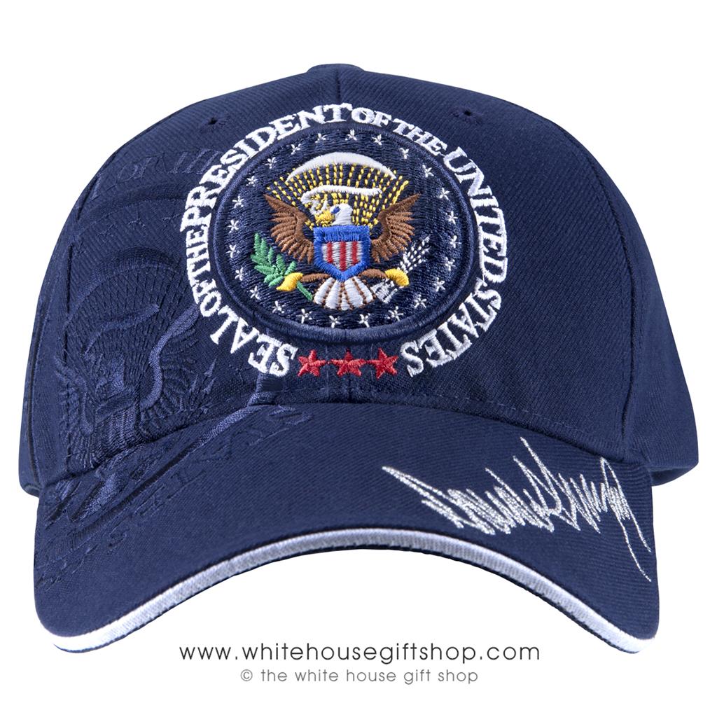 TRUMP MAGA  BLUE CAP HAT 45th PRESIDENT EAGLE SEAL SIGNATURE NAME SIGNED