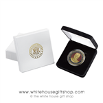 President Donald J. Trump Commemorative Coin, Medallion, Large Coins, Presidential Seal on reverse of coin, Custom Presentation case and custom outer box,  from the Original Official White House Gift Shop, keepsake of the 45th President of United States.