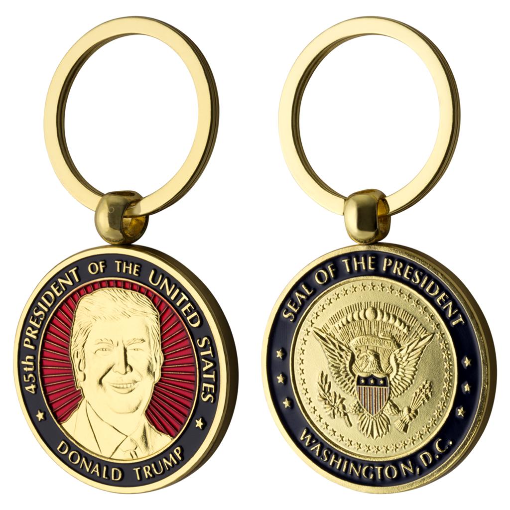 45th President USA MAGA Keychain Rev2 Donald Trump Large Metal Key Chain