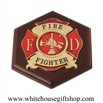 Fire fighter wall placard, plaque, medallion, or paperweight, 7 inches by 6 inches impressive wood base.
