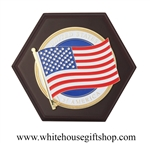 American Flag Medallion Wall Hanging Placard on Wood, Made in the USA, high quality