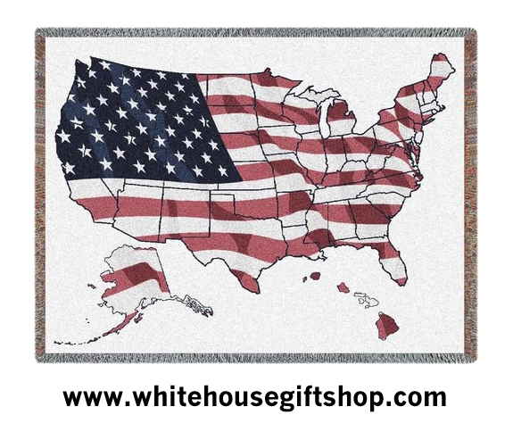United States Of America Map Flag Blanket 100 Cotton Machine - American-flag-us-map