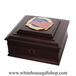 American Flag Keepsake Wood Case, Jewelry, Medals, Dog Tags, Military, Watch Box,  Made in USA, White House Gift Shop Box, Presidential quality,, Washington D.C. collectible
