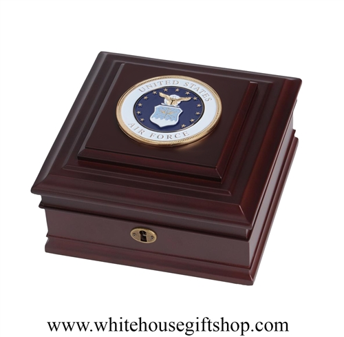 United States Air Force, USAF, Keepsake Box, Made in the USA, American Military Jewelry Case for medals, dog tags,awards,  ribbons, gift boxed from White House Gift Shop, Washington D.C.