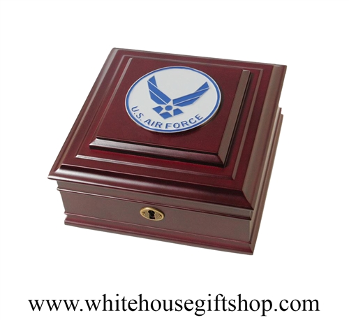 USAF, United States Air Force Memory Box, Keepsake Case, high quality wood finish with Aim High Medallion on lid, from Official White House Gift Shop Est. 1946, select your package type for premium gift to active or retired Air Force serviceman or woman.