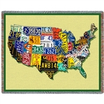 Blanket License Plates of United States, throw made in America, Cotton, Machine Wash and Dry, 70 inches by 54 inches, Made in the USA