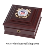 United States Coast Guard Seal Medallion Keepsake Box, Made in USA, Quality Wood Case for military awards, medals of honor, ribbons, dog tags, officer recognition, promotional gifts, from Official White House Gift Shop, Washington, D.C.