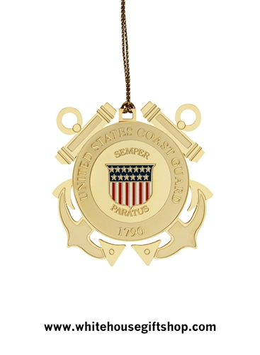 2013 United States Coast Guard Holiday Ornament, Authorized USCG, 24KT Gold Finished, Made in the USA by the Makers of the Official White House Ornaments, Start or Complete the Entire Military Services Collection, Date not on ornament.