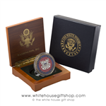 Coast Guard Challenge Coin, USCG,Burnished Bronze with Enamel Color Presented  in Wood Case & 2-Piece White House Gift Box