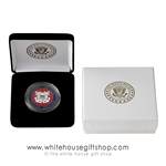 "Coast Guard USCG Challenge Coin in Display quality velvet coin Case and Presentation Gift Box, bronze and enamel finish, 1.5"" diameter. upgraded clear coin capsule, White House Presidential Eagle Seal Imprint on cases from official White House Gift Shop."