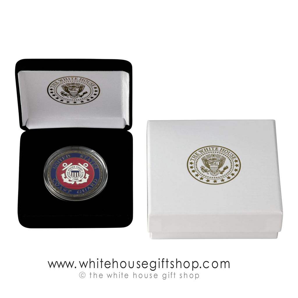 U S  Coast Guard Challenge Coin, Gold Finish & Blue Enamel, Display Case,  Outer Gift Box with White House Seal, 1 5