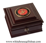United States Marine Corps Emblem Keepsake Gift Box, Made in USA, Wood Medallion Case, Semper Fidelis, Emblem and Seal