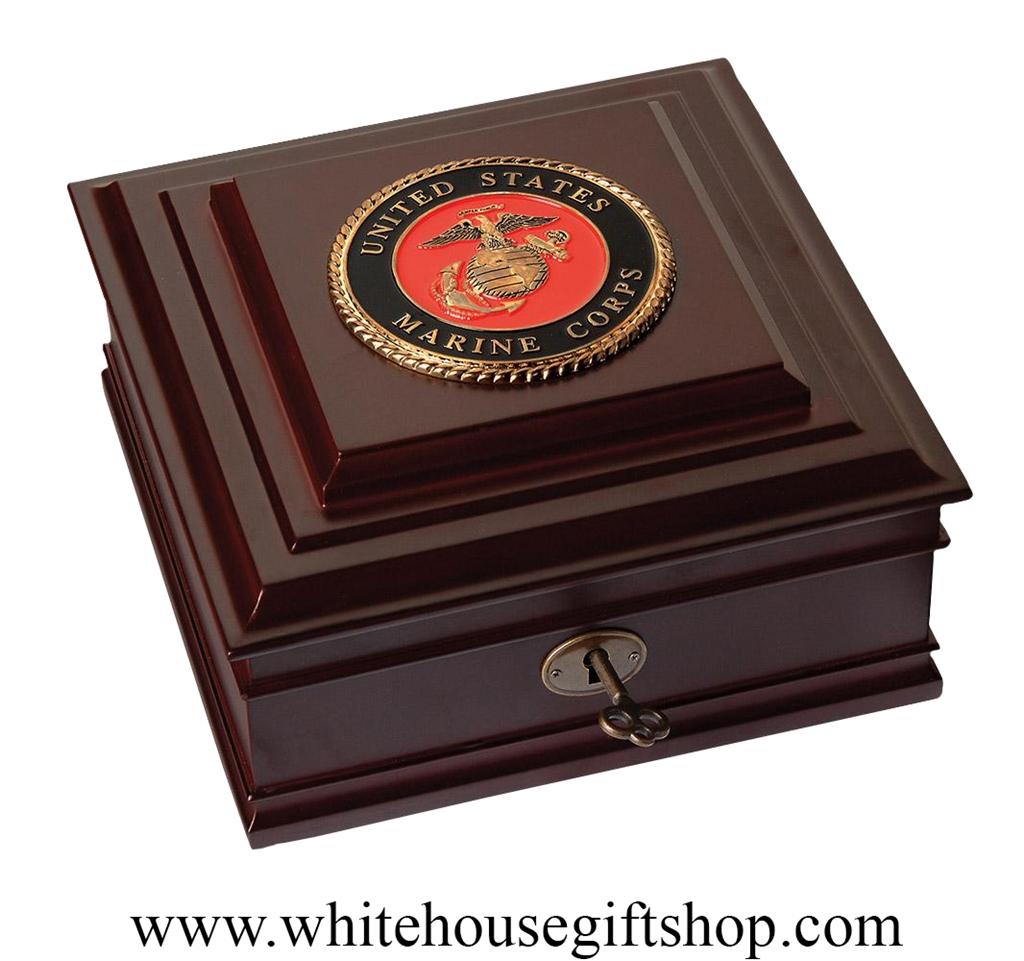 united states marine corps emblem and seal keepsake box case made