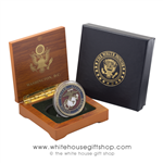 Marine Corps Challenge Coin, USMC, in Wood Coin Case & 2-Piece White House Outer Gift Box