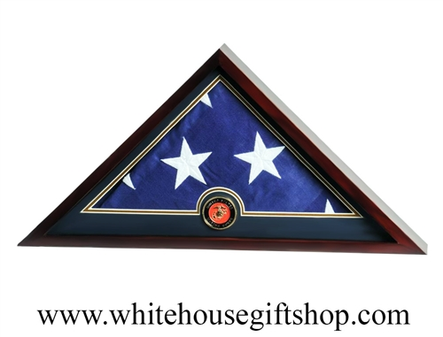 US Flag Display Case with Marine Corps Medallion