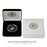 Coins, Marine Corps USMC Challenge Coin in White House Display Case, bronze and color finishes, outer elegant presentation gift box with gold imprint of White House Eagle Seal on lid, from original official White House Gift Shop since 1946