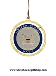 Ornaments, United States Navy Authorized USN Ornament, Handmade in USA by Makers of Official White House Ornaments, 24KT Gold Finished, Start or Complete the Entire Collection!