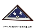 US Flag Display Case with Navy Medallion