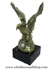 "Eagle Bronze Statue with USN Official Navy Seal, on solid marble base, made in the USA, 10"" tall, impressive model, from official White House Gift Shop since 1946, gift box option, fantastic military gift for any active or retired Naval service man-woman"