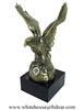 The Great American Eagle United States Air Force Statue, USAF Emblem Desk Display, Heavy Brass Finished, Made in the USA, ten inches tall, solid marble base, from official White House Gift Shop, Est. 1946.