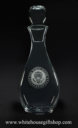 White House Glass wine decanter, Presidential Eagle Seal, elegant etched lead-free glass, made in the USA, from original official White House Gift Shop since 1946 President gifts collection.