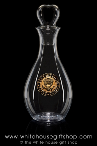 White House Glass Wine Decanter with Presidential Seal etched in gold, made in the USA, refined, simple lines, from the original official White House Gift Shop glassware gifts collection, since 1946 by order of President Truman.