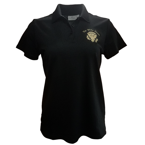 Lady's Presidential Eagle Seal Polo Shirt, black