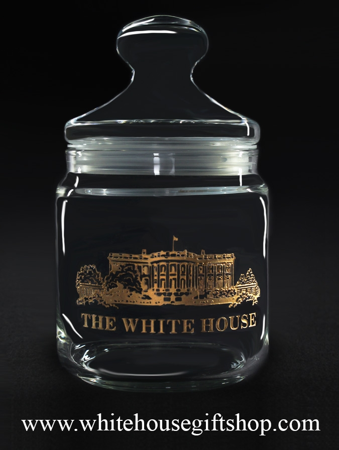 glass candy jar white house 22k gold filled etched glassware