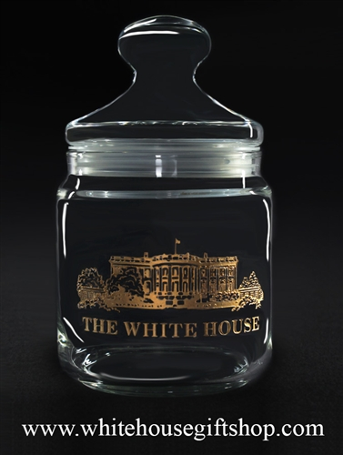White House Custom Candy Jar, quality etched and filled with 22k gold, the home of President of the United States, from the official White House Gift Shop since 1946, Presidential glassware and gift collection.