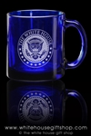 White House Seal Clear Cobalt Glass Mug, Deeply Etched, Made in the USA, Presidential  Mugs Collection from the original Official White House Gift Shop established 1946, dishwasher and microwave safe.