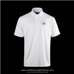 Presidential Eagle Seal Polo Shirt, Made in USA, performance blend, White House Seal,  quality 3 button golf shirts, from official White House Gift Shop President Collection, authentic custom American made, embroidered, color white, wrinkle resistant