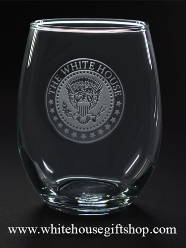White House Glassware,  President Glass,Etched ,Set of 2 Stemless Wine Drinking Glasses from White House Gift Shop Est 1946, Made and Etched in America, Made in USA