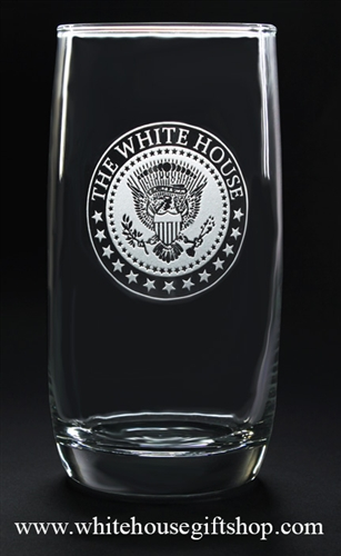 White House Seal Presidential Glasses, Clear permanent etch, lead free glass made in the USA, custom made for original official White House Gift Shop Est 1946 by President order, from our Presidential Gift and glassware collection.