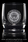 White House, President Seal Glassware, Elegant On the Rocks Glasses, set of 2, Etched and  100% made in the USA,  from the Presidential glass collection from The Official White House Gift Shop since 1946, federally registered, trademarked official store