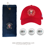 President Seal Quality Golf Sets, Towels, Hats, Sleeve White House Golf Balls, 100%Cotton, Embroidered, Made in USA, Made in America
