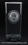 White House Presidential Eagle Seal, clear etched tall glass set, 15 oz glasses, made in the USA with lead free glass, chip resistant rim, dishwasher safe,permanently etched with elegant White House Seal from the official White House Gift Shop since 1946.