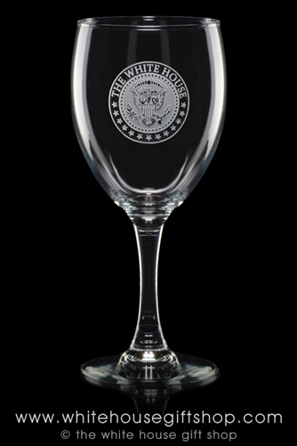 The White House Seal of the President Wine Glasses from the Official White House Gift Shop