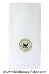 The White House Seal Hand Towel, President and Embassy Quality, Luxury Cotton, Embroidered. from Official White House Gift Shop, Military, Corporate, Presidential, State Department Gifts Collection.