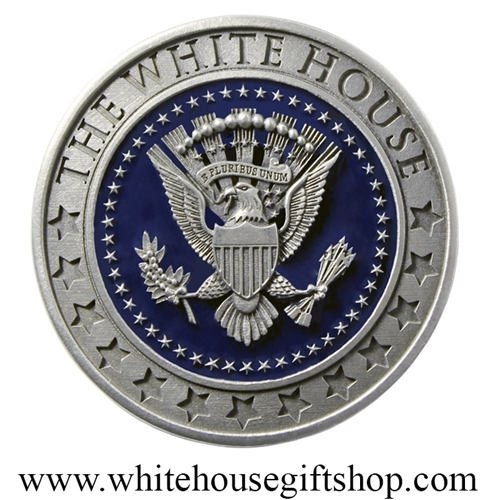 White House & Presidential Seal Medallion Commemorative or Sophisticated  Challenge Coin, Silver Satin Pewter for Heirloom Preservation, Includes  Black