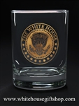 Presidential Seal White House Glasses,  Set of 2 14 ounce double old fashioned or on the rocks style glassware, each glass etched with White House Eagle Seal of President, custom made for White House Gift Shop since 1946 by order of the President.