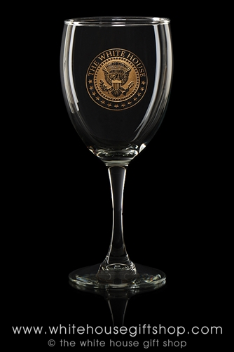 White House Wine Glass Goblets, chip resistant made in America glassware, Seal of President Trump with gold inlay, set of 2, Made in the USA of lead free glass. from Presidential Glassware collection of Official White House Gift Shop, since 1946.