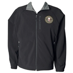 The White House Jacket, Soft Shell, Jet Black, Fully Gray Lined Inside, Zippered Chest & Hand Pockets, Inside Pocket, Machine Wash & Dry, Layers Beautifully, Raglan Sleeve, Inner Cuff, Exquisitely Embroidered.