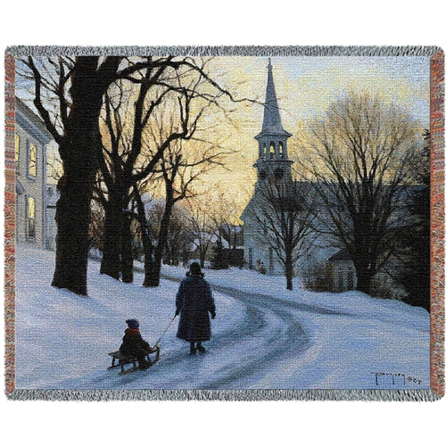 American Winter Snowy Evening Tapestry Throw Blanket Sale