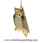 White House Owl Ornament, 3-D, 24KT Gold Plated, Symbol of Presidential Wisdom, Handmade in USA!  25 LEFT IN STOCK, LIMITED EDITION, NO LONGER AVAILABLE