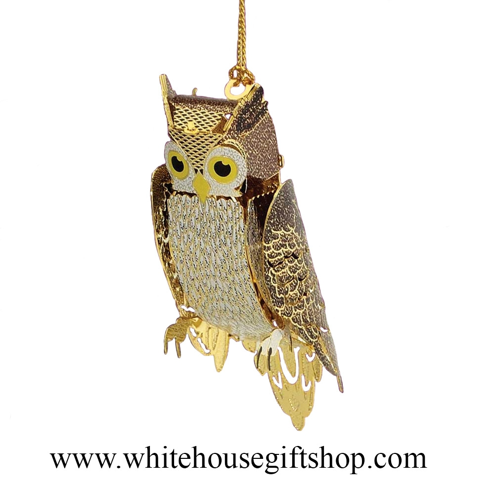 White House Owl Ornament 3 D 24kt Gold Plated Symbol Of