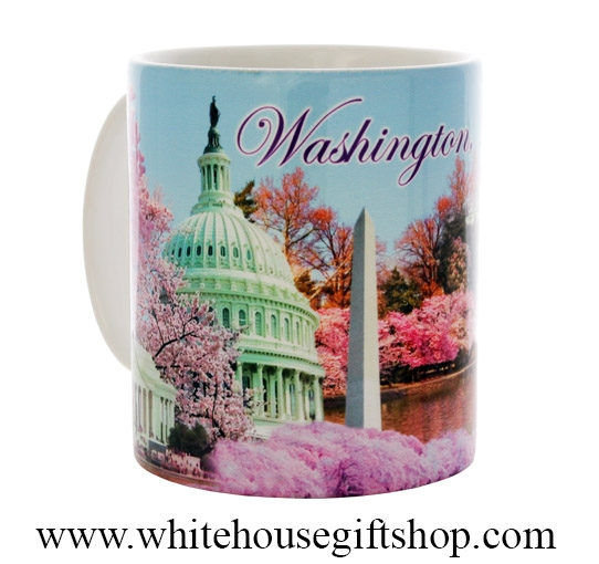 The Washington D C National Cherry Blossom Festival Coffee Mug Is From The White House Gift Shop Is Ceramic With Collage Photos Of The White House U S Capitol Building Washington Monument Jefferson And