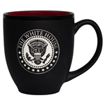 The White House Seal Bistro Coffee, Tea, or Beverage, black Mugs with Red Interior from the Official White House Gift Shop President Mug Collection, dishwasher safe, high quality, large 15 ounce cup, available in gift box